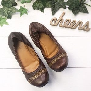 NINE WEST Texiera Brown Leather Ballet Flats